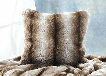 Fellkissen (Webpelzkissen) Wolf grau-braun in