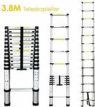 FEMOR 3.8M Alu Teleskopleiter Anlegeleiter Aluleiter Sprossenleiter Schiebeleiter(Anti-Handklemmen)