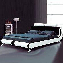 Fench Designer-Bett, Schwarz/Weiß , chrome, 5FT - King