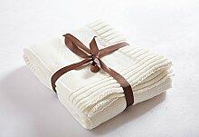 FenDie® Baumwolle Decke Gestrickt Sofa Bett Büro Wohndecke Amerikanische Reto Kinderwagen Ausflug Kuscheldecke Ländlich 130*180cm Weiß Warm Weich Sanf