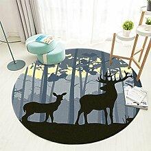 Fenfatuqiang Round Forest Elk Schlafzimmer Teppich