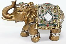 Feng Shui 7 Medium Gold Color Elegant Elephant