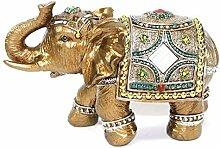 Feng Shui 7 Medium Gold Color Elegant Elephant