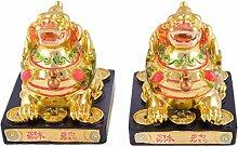 Feng Shui Golden Paar Pi Yao Schutz Skin/PI Xiu für Wohlstand W inklusive Mxsabrina mit roter Schnur Armband D1031