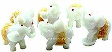 Feng Shui Set of 6 Jade White Elephant Statues