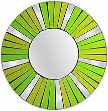 Feng Shui Spiegel Dekospiegel Arian Ø 30cm aus Holz mit Spiegel Glas Mosaik grün, Wanddeko Wandsymbol Sonne Strahlen, Chi Energie lenken, Dekosonne