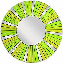 Feng Shui Spiegel Dekospiegel Arian Ø 40cm aus Holz mit Spiegel Glas Mosaik grün, Wanddeko Wandsymbol Sonne Strahlen, Chi Energie lenken, Dekosonne