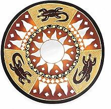 Feng Shui Spiegel Dekospiegel Gecko Eideckse Ø 40 cm handgefertigt aus Holz braun rot, Wanddeko Wandsymbol Sonne Sonnenspiegel, Chi Energie lenken, Dekosonne