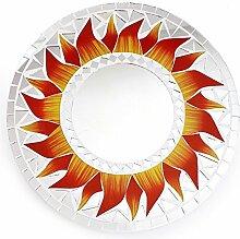 Feng Shui Spiegel Dekospiegel Matahari Sonne Ø 30cm aus Holz weiß Mosaik rot gelb, Wanddeko Wandsymbol Symbol Solarplexus, Chi Energie lenken, Dekosonne