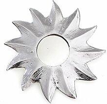 Feng Shui Spiegel Dekospiegel Sonne Ø 20 cm aus Holz silber bemalt, Wanddeko Wandsymbol Symbol Solarplexus Chakra, Chi Energie lenken, Energiespiegel