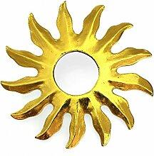 Feng Shui Spiegel Dekospiegel Sonne Ø 25 cm aus Holz gold bemalt, Wanddeko Wandsymbol Symbol Solarplexus Chakra, Chi Energie lenken, Energiespiegel