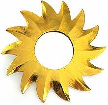 Feng Shui Spiegel Dekospiegel Sonne Ø 30 cm aus Holz gold bemalt, Wanddeko Wandsymbol Symbol Solarplexus Chakra, Chi Energie lenken, Energiespiegel