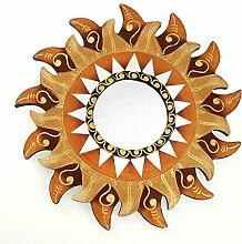 Feng Shui Spiegel Dekospiegel Sonne Ø 30 cm handgefertigt aus Holz braun gold, Wanddeko Wandsymbol Symbol Solarplexus Chakra, Chi Energie lenken, Energiespiegel