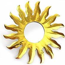 Feng Shui Spiegel Dekospiegel Sonne Ø 40 cm aus Holz gold bemalt, Wanddeko Wandsymbol Symbol Solarplexus Chakra, Chi Energie lenken, Energiespiegel