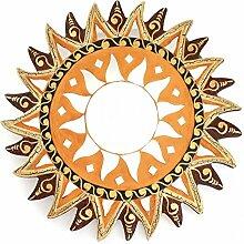 Feng Shui Spiegel Dekospiegel Sonne Ø 40cm aus Holz braun rot gold handbemalt Mosaik, Wanddeko Wandsymbol Symbol Solarplexus, Chi Energie lenken, Dekosonne