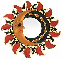 Feng Shui Spiegel Dekospiegel Sonne Mond Ø 30 cm handgefertigt aus Holz braun rot gold, Wanddeko Wandsymbol Symbol, Chi Energie lenken, Dekosonne