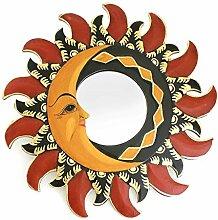 Feng Shui Spiegel Dekospiegel Sonne Mond Ø 40 cm handgefertigt aus Holz braun rot gold, Wanddeko Wandsymbol Symbol, Chi Energie lenken, Dekosonne