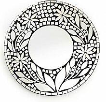 Feng Shui Spiegel Dekospiegel Zara Ø 60cm rund aus Holz mit Spiegel Glas Mosaik Blumen Flower Dekor, Wanddeko Wandsymbol, Chi Energie lenken