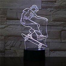 Fengdp 3D Visuelle Lampe Skateboard Spieler