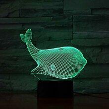 Fengdp 7 Bunte USB Whale 3D Illusion Lampe