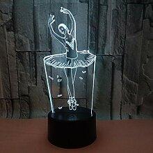 Fengdp Ballett Mädchen 7 Farbe Lampe 3D Visuelle