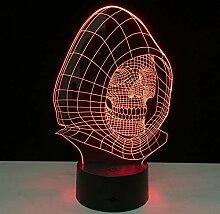 Fengdp Bunte lights3D LED Schädel Lampe 7 Farbe