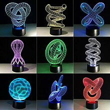 Fengdp Kreative 3D Illusion Lampe LED Nachtlicht