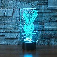 Fengdp LED Big Ear Kaninchen Hase 3D LED Lampe