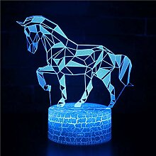 Fengdp Majestic Horse Thema 3D Lampe LED