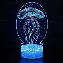 Fengdp Meereslebewesen Qualle Thema 3D Lampe LED