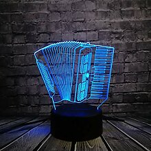 Fengdp Nachtlicht Musikinstrument Akkordeon 3D USB