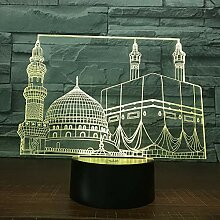 Fengdp Temple Castle Palace 3D Lampe 7 Farbe Led