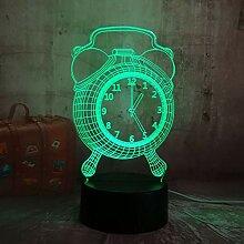 Fengdp Wecker Lampe 3D LED Nachtlicht für Kinder