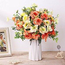 FENGRUIL Künstlicher Rosenstrauß mit Vase, Seide