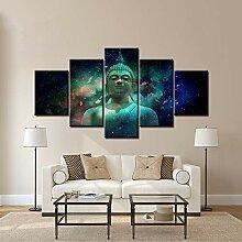 fenshop Buddha-Statue mit Raumplaneten abstrakte