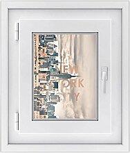 Fenster-Aufkleber | Fensterbild für Wohnzimmer und Schlafzimmer | dekorative Sichtschutzfolie für Fenster in Bad und Küche | selbstklebende Fensterfolie | Fensterfolie 30 x 40 cm - New York City