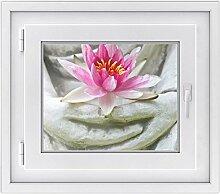 Fenster-Aufkleber | Fensterbild für Wohnzimmer und Schlafzimmer | dekorative Sichtschutzfolie für Fenster in Bad und Küche | selbstklebende Fensterfolie | Fensterfolie 50 x 40 cm - Flower Buddha