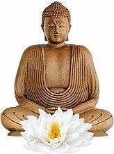 Fenster Aufkleber Holz Lotus Buddha Fensterfolie