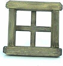 Fenster aus Holz. Für 6,5x6,5 cm Fensterausschnitt. Geschnitzt. mehrere Farben, Fenster:W1229 Fenster grau