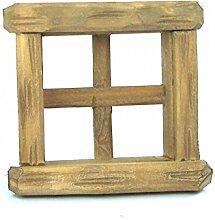 Fenster aus Holz. Für 6,5x6,5 cm Fensterausschnitt. Geschnitzt. mehrere Farben, Fenster:W1228 Fenster braun