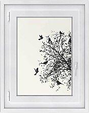 Fenster-Deko - Fenster-Bild | selbstklebende Glasdekorfolie - Klebefolie für Fenster | Küchenfenster verschönern - einfach anzubringen - rückstandslos ablösbar | Design Tree and Birds 2 - 50 x 70 cm