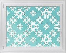 Fenster-Deko - Fenster-Bild | selbstklebende Glasdekorfolie - Klebefolie für Fenster | Küchenfenster verschönern - einfach anzubringen - rückstandslos ablösbar | Design Endless Flake - 120 x 90 cm