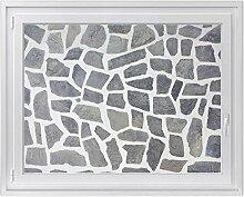 Fenster-Deko - Fenster-Bild | selbstklebende Glasdekorfolie - Klebefolie für Fenster | Küchenfenster verschönern - einfach anzubringen - rückstandslos ablösbar | Design Steinmosaik - 120 x 90 cm