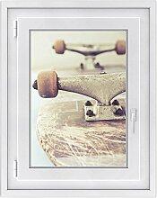 Fenster-Deko - Fenster-Bild | selbstklebende Glasdekorfolie - Klebefolie für Fenster | Küchenfenster verschönern - einfach anzubringen - rückstandslos ablösbar | Design Skateboard - 50 x 70 cm