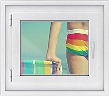 Fenster-Deko - Fenster-Bild | selbstklebende Glasdekorfolie - Klebefolie für Fenster | Küchenfenster verschönern - einfach anzubringen - rückstandslos ablösbar | Design Rainbow Beach - 50 x 40 cm