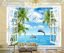 Fenster Dolphins 3D Tapeten -200Cmx140Cm Möwe
