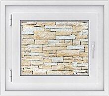 Fenster-Folie | Dekoratives Fensterbild - hochwertige Glasfolie für Fenster in Wohnzimmer und Schlafzimmer | Sichtschutzfolie Fenster-Sticker | Fensterfolie 50 x 40 cm - Design Sandstein
