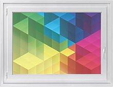 Fenster-Folie | Dekoratives Fensterbild - hochwertige Glasfolie für Fenster in Wohnzimmer und Schlafzimmer | Sichtschutzfolie Fenster-Sticker | Fensterfolie 100 x 70 cm - Design Colored Cubes