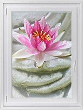 Fenster-Folie | Fenster-Bild - statisch haftende PVC Sticker | Glasdekor-Aufkleber Sticker für Fenster | einfach anzubringen - rückstandslos ablösbar | Fensterfolie 70 x 100 cm - Flower Buddha