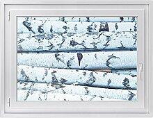 Fenster-Folie | Fenster-Bild - statisch haftende PVC Sticker | Glasdekor-Aufkleber Sticker für Fenster | einfach anzubringen - rückstandslos ablösbar | Fensterfolie 100 x 70 cm - Weisses Buschwerk